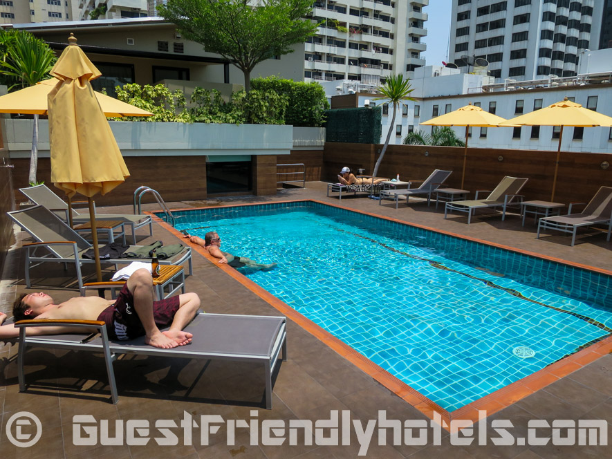 A small swimming pool is located at the rooftop in Dawin Bangkok Hotel