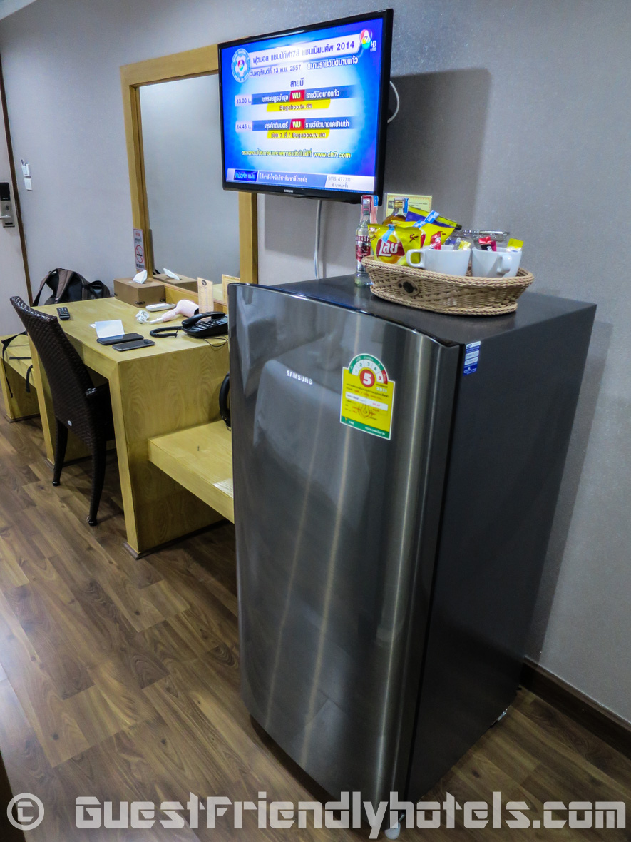 Big family size fridge in all hotel rooms of the Beach Front Resort Pattaya
