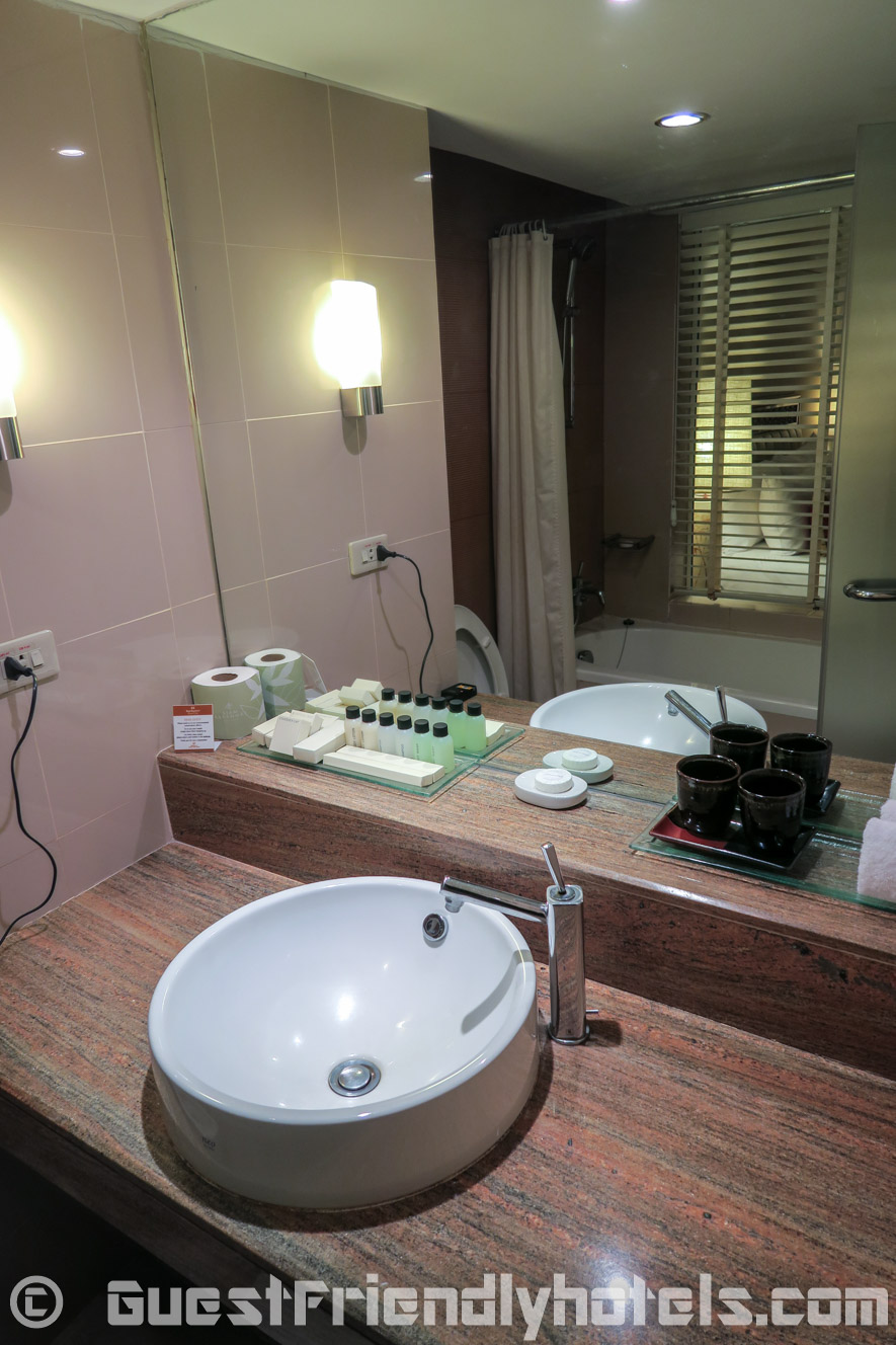Area around the bathroom sink in my Executive Deluxe room at the Siam Bayshore Resort