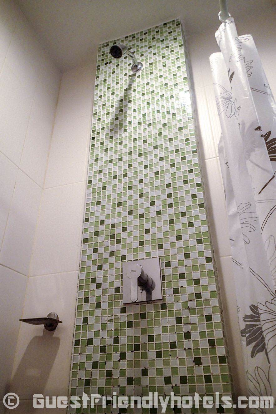 Bathroom shower has great water pressure and temperature control inf the Chambre Patong