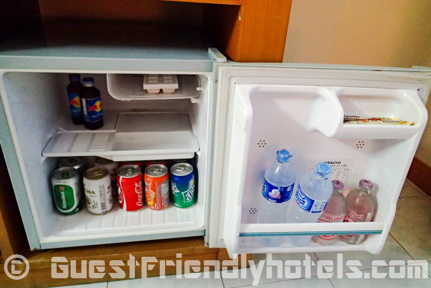 Closer look inside the room fridge at Eastiny Bella Vista Hotel