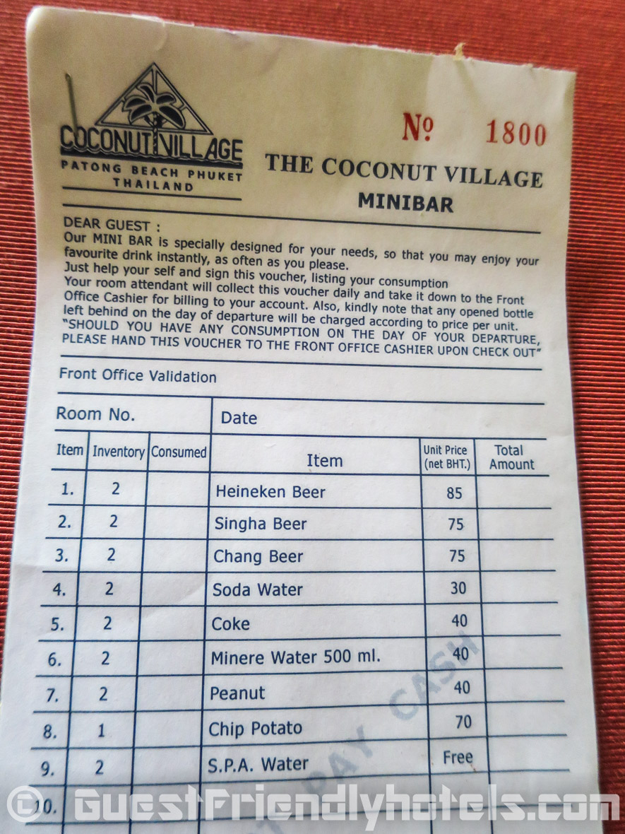 Drink price list of the mini-bar items at the Coconut Village Resort