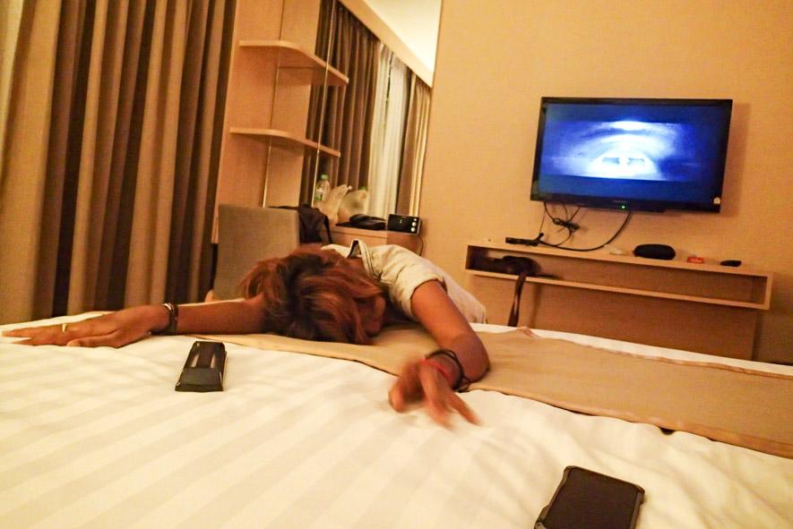 Drunk bargirl girl back at my room inside Petals Inn girl friendly hotel