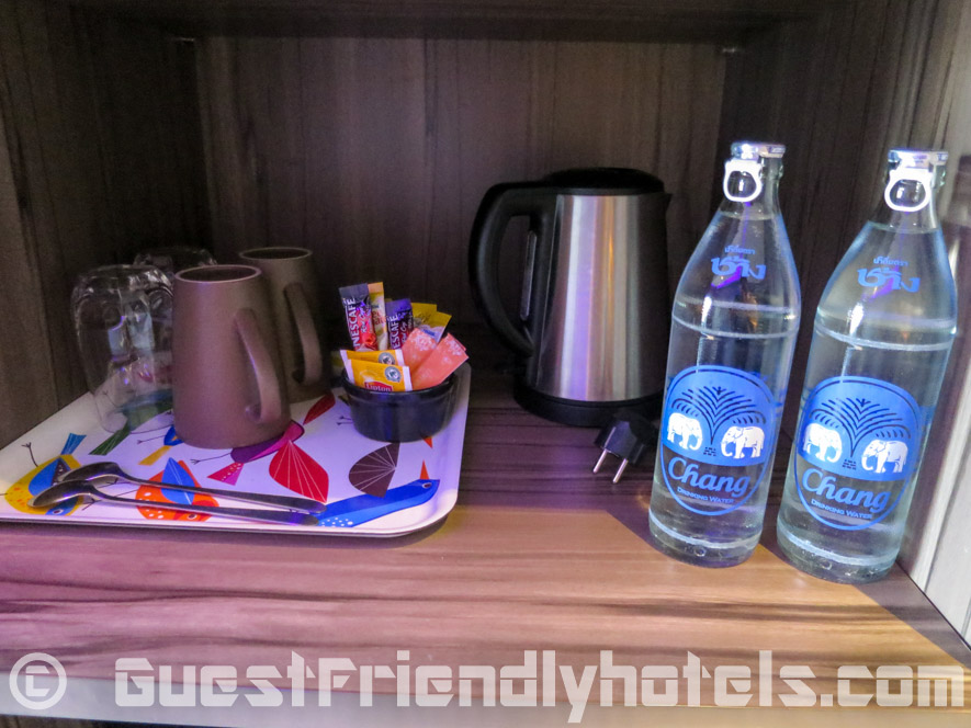 Electric kettle with two complimentary bottles of water to make your morning tea-coffee at Tweet Tweet Nest Pattaya Hotel