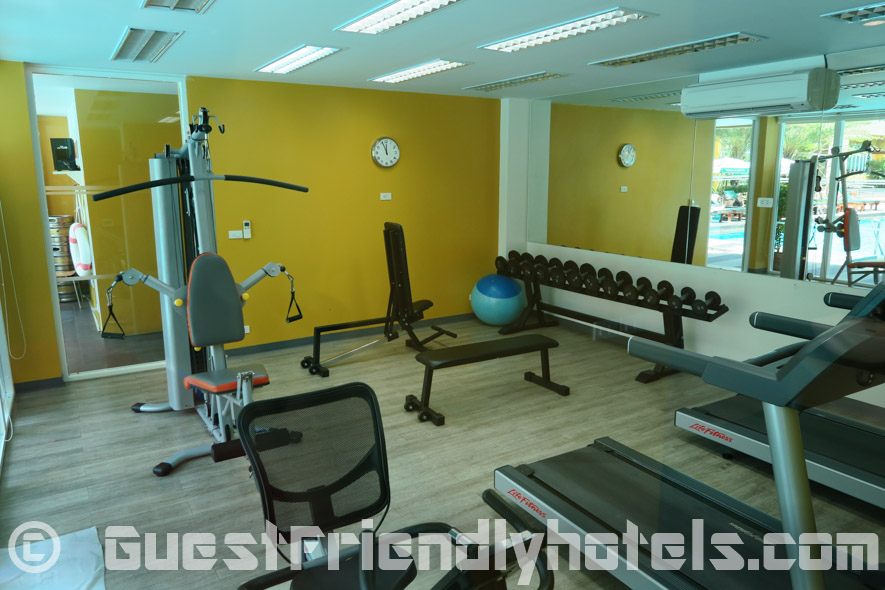 Grand bella hotel has a small fitness room at the pool level