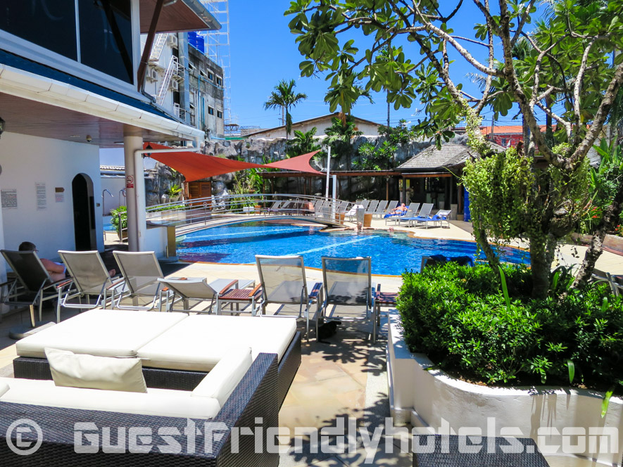 Great place to relax and recover after a long night out drinking by the pool at the Yorkshire Hotel in Phuket