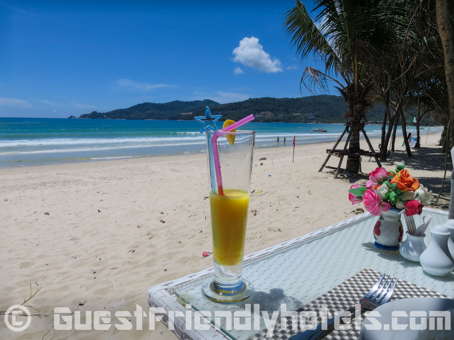 Having a drink at the beachfront bar which is much cleaner since the post coup cleanup in Patong Bay Garden Resort