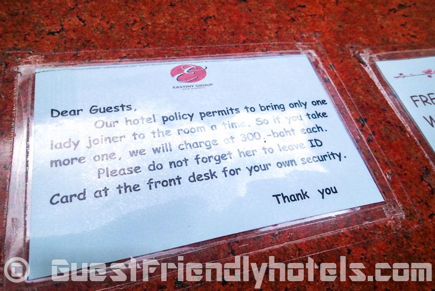 Joiner Policy at Eastiny Seven hotel in Pattaya
