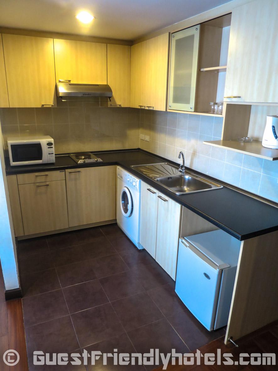 Kitchen area found in Deluxe Room in the SM Grande Residences in Bangkok