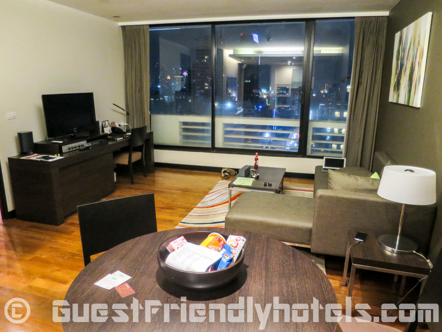 Living room and dining area at Fraser Suites Sukhumvit Serviced Apartments
