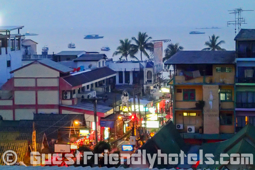 Looking at the heavily laden with beer bars Soi 7 from my Balcony in the Eastiny Seven Hotel