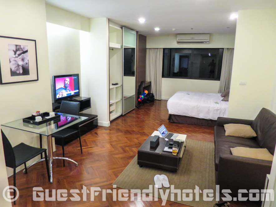 Main studio living space in Phachara Suites