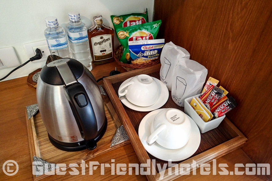 Morning coffee and tea making facilities inside my room at the Chambre Patong