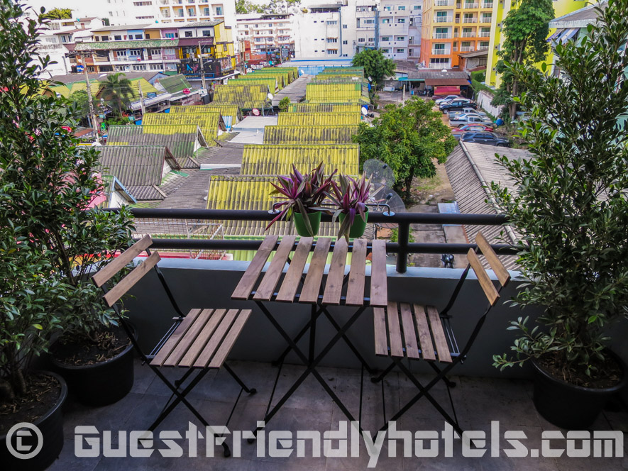 Room have a small Balcony that overlook the beer bars of Soi 7 at Tweet Tweet Nest Pattaya Hotel