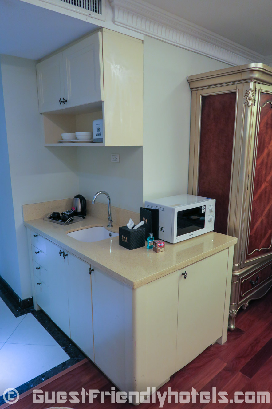 Small Kitchenette corner inside my Deluxe Room at LK The Empress