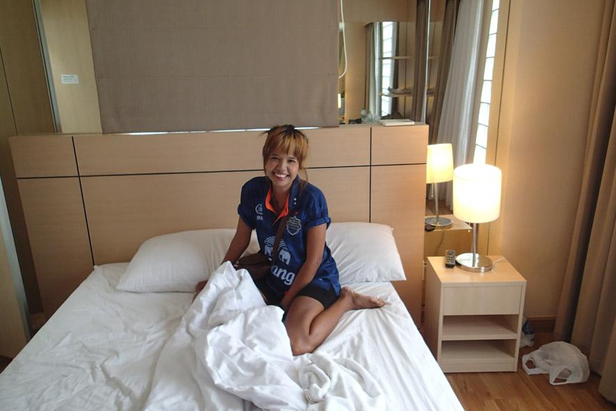 Soi Nana freelancer back inside my room at the girl friendly Petals Inn Bangkok hotel