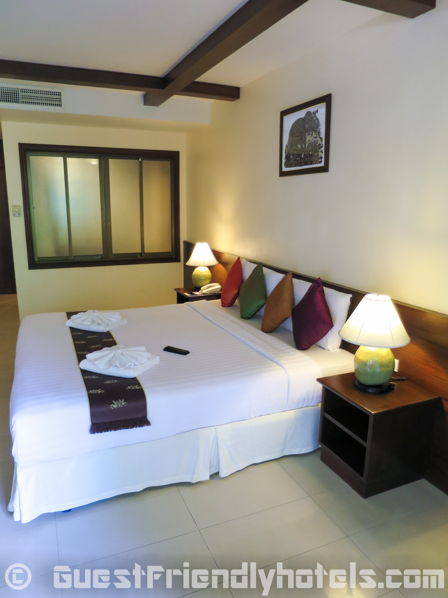 The bed area at the Coconut Village Resort