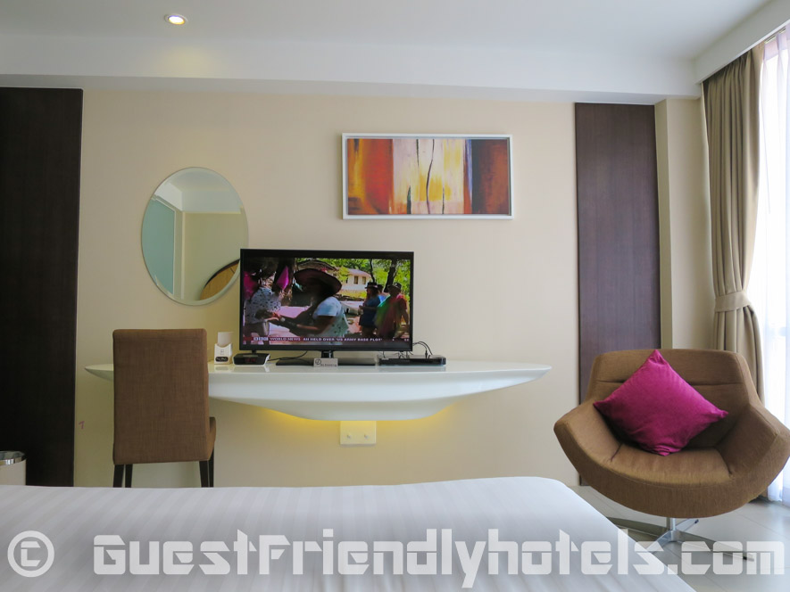 The flatscreem Television isndie rooms at the Hotel Icon Bangkok
