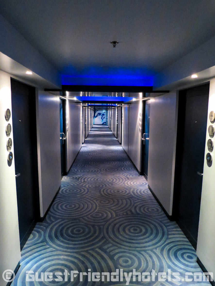 The hallways inside the Dream Hotel Bangkok