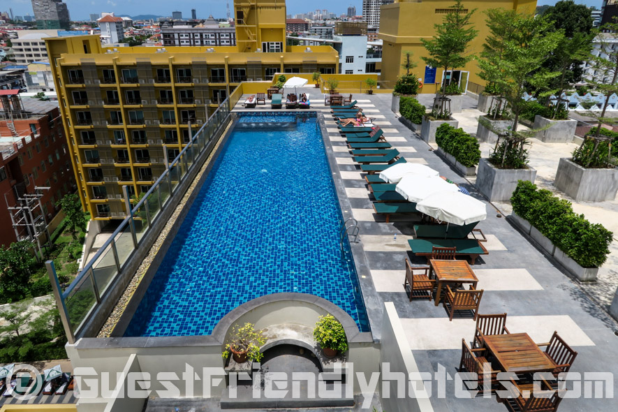 The rooftop pool is a great place to chill in the Grand Bella hotel Pattaya