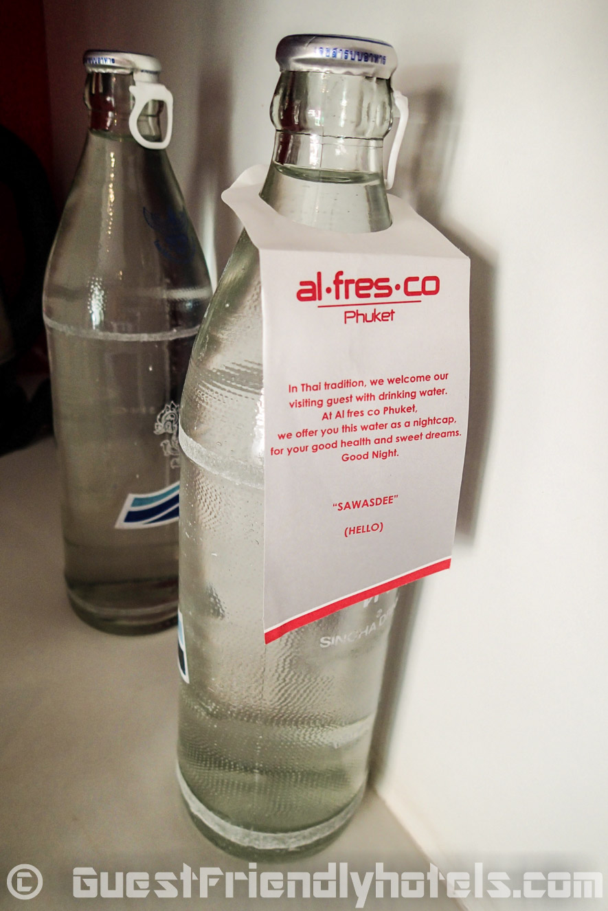 Usual two free bottles of water found in the rooms of the Alfresco Phuket Hotel