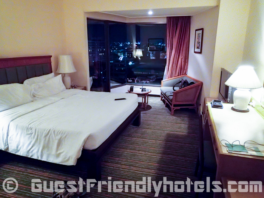 View of my Deluxe room at night inside the Bayview Pattaya