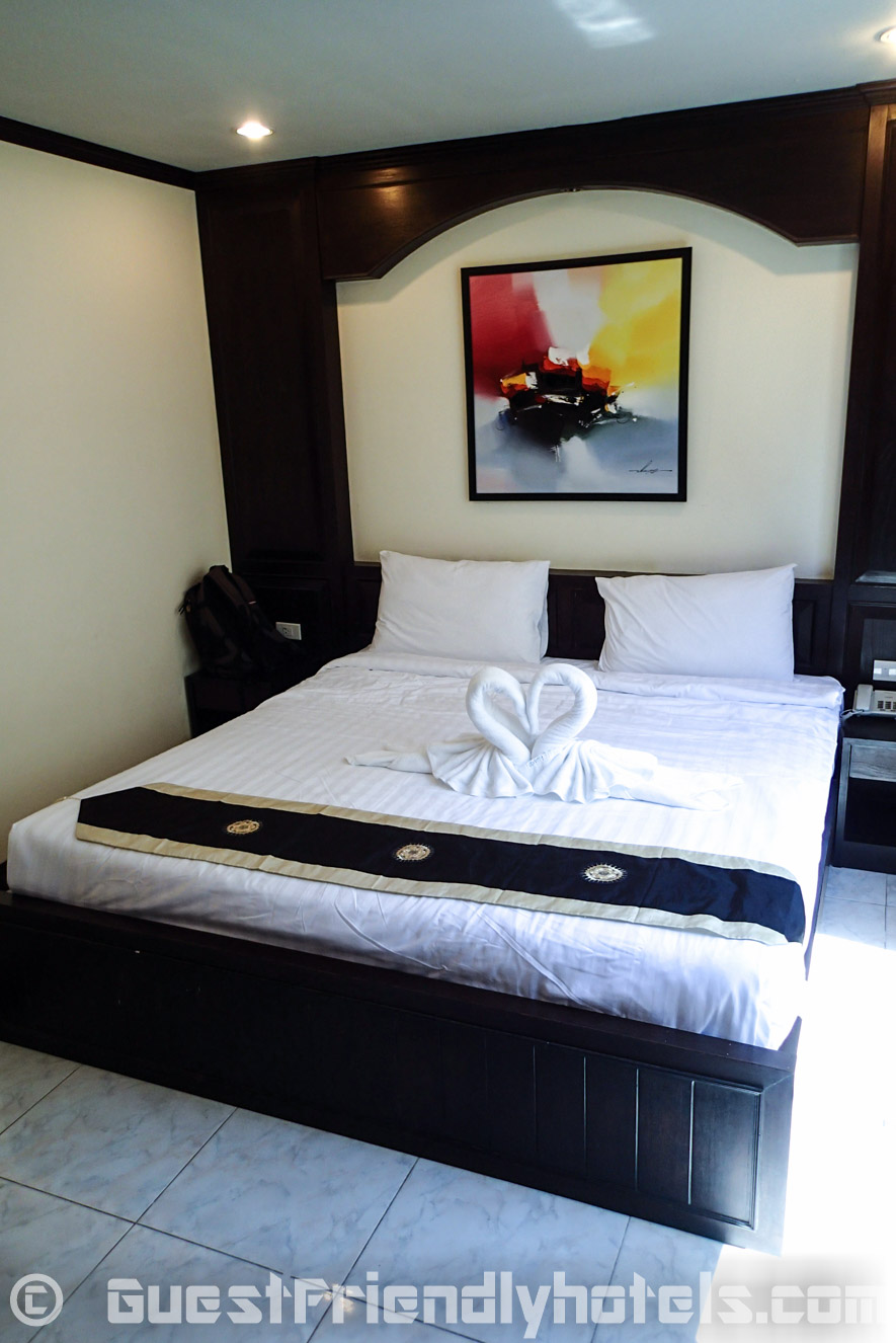 View of my superior room bed in White Patong Hotel in Phuket