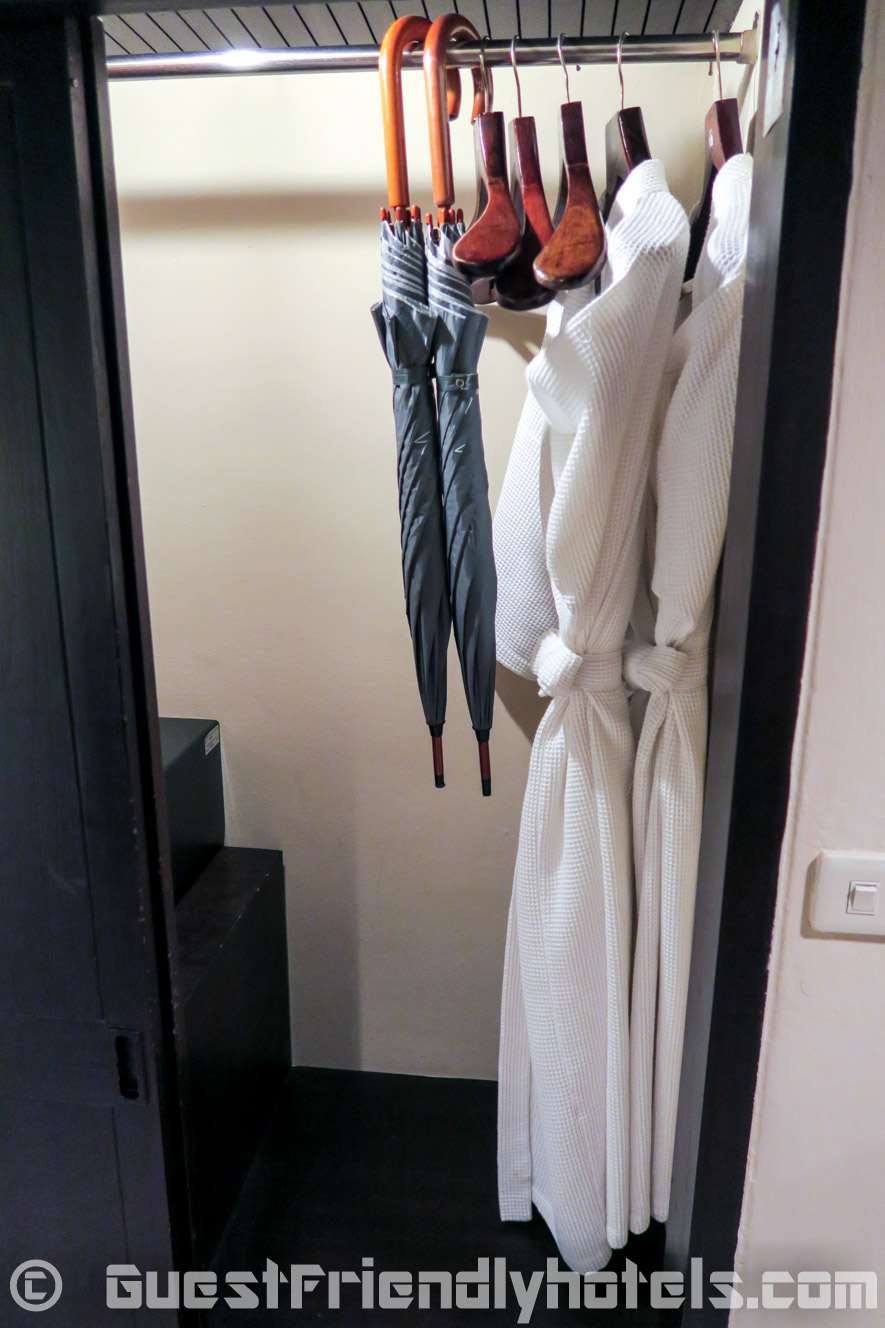 Wardrobes are furnished with bath towels and umbrellas in case of rain at Siam Bayshore Resort and Spa