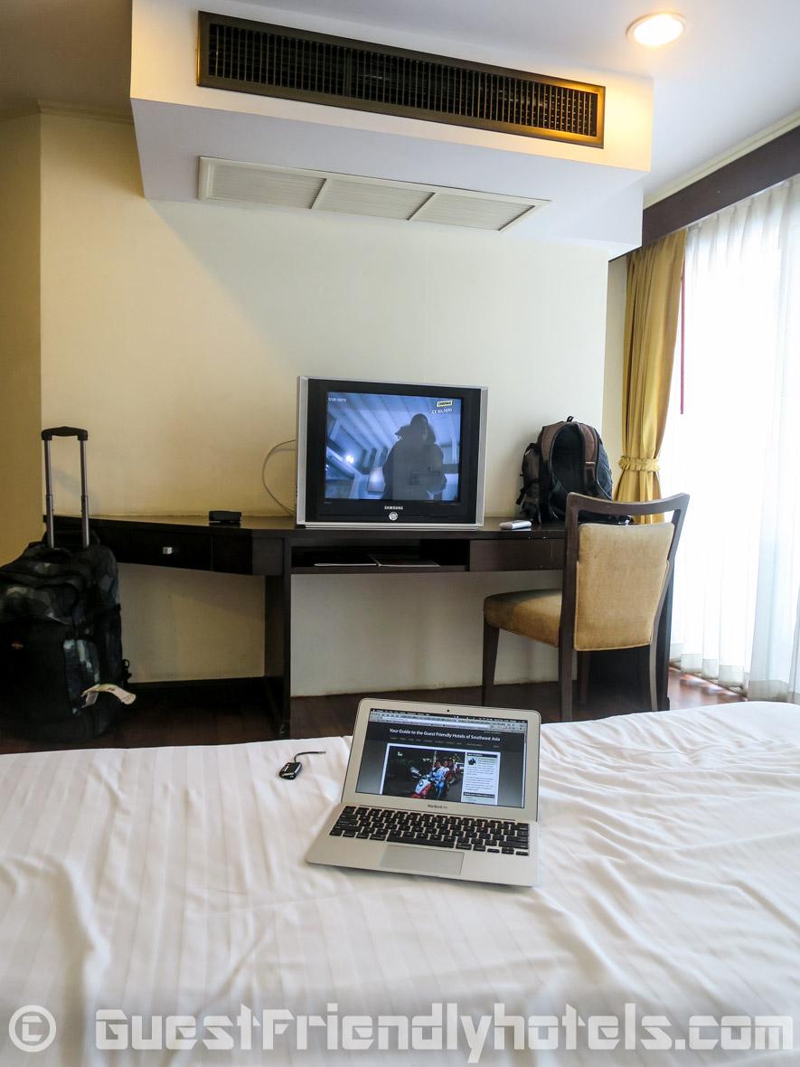 Watching some TV from my bed at SM Grande Residence Bangkok