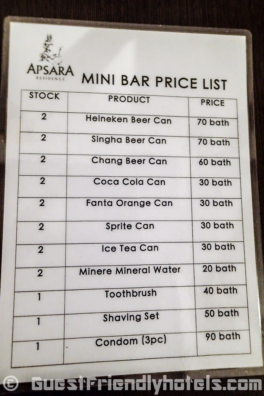 price list of drinks in the minibar at the Apsara Residence