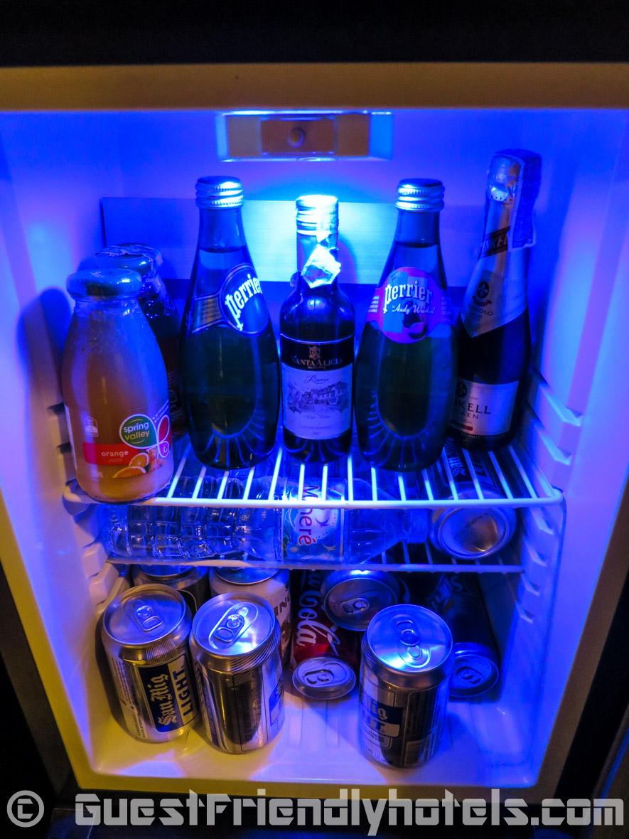small room fridge in Majestic Grande Sukhumvit Hotel in Bangkok